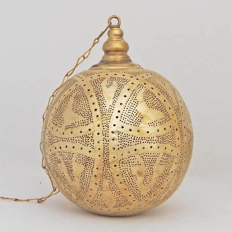 Arabische hanglamp Qorna - gesloten bol - geel koper