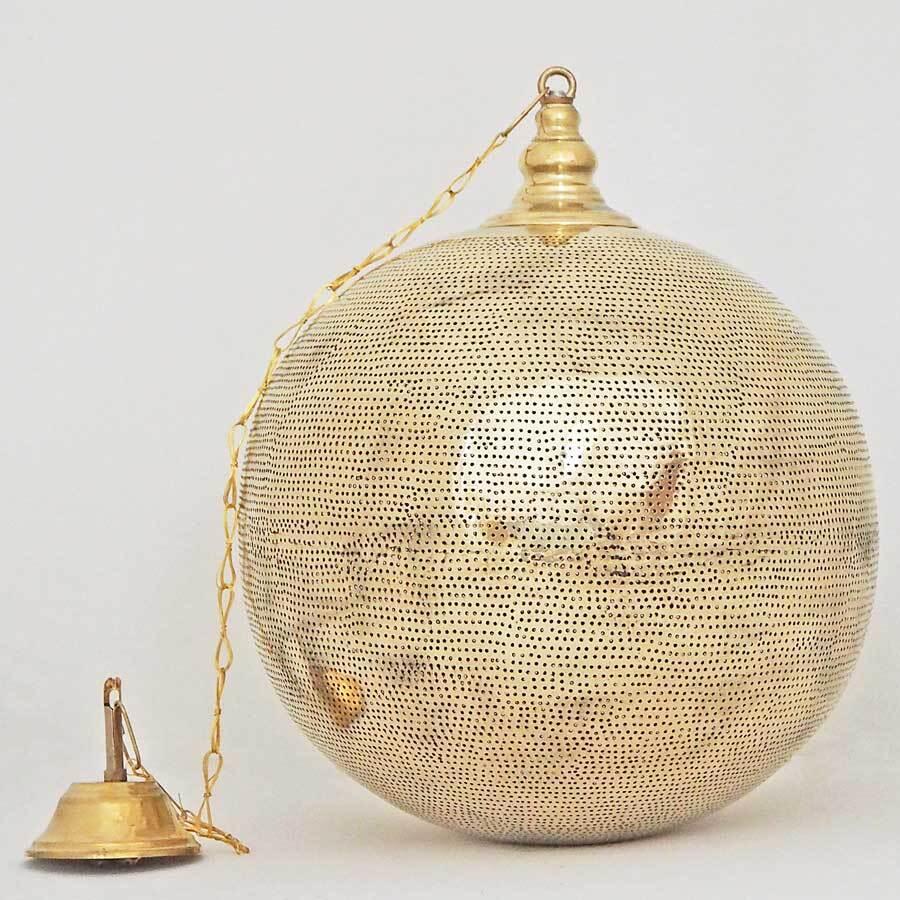 Arabische hanglamp Arwa - gesloten bol - geel koper