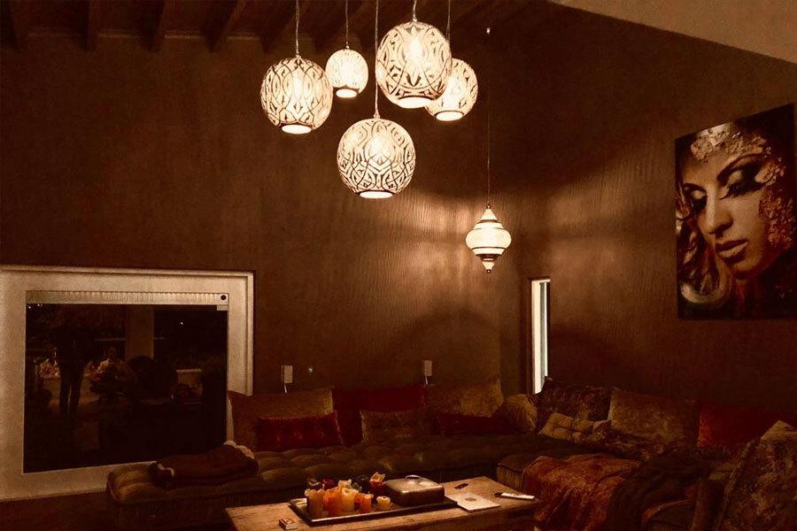 Groep hanglampen Isra en hanglamp Basha