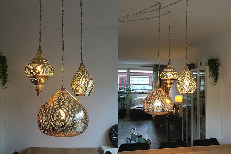 Groep Arabische lampen boven eettafel
