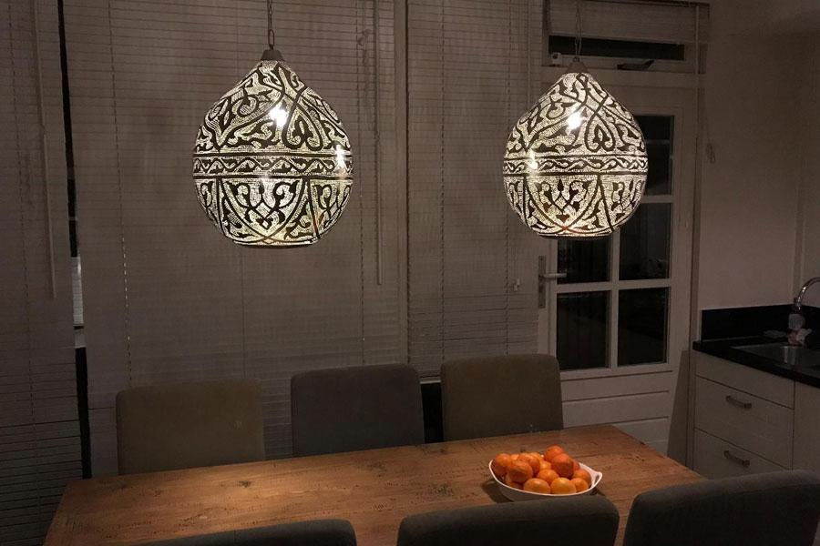 XL hanglampen Haifa boven eettafel