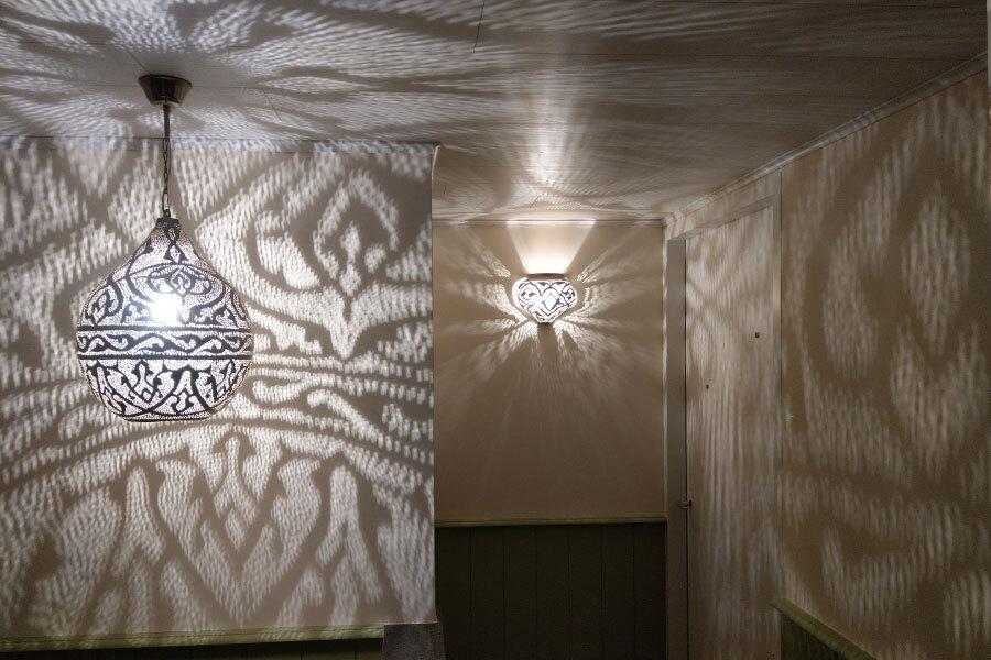 Hanglamp Haifa en wandlamp Mieja