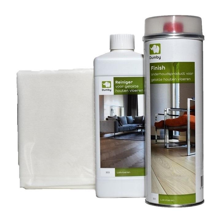 Onderhoudsset voor gelakte houten vloeren - oplosmiddelhoudend
