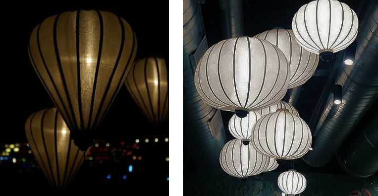 Zilveren lampionnen als hanglamp
