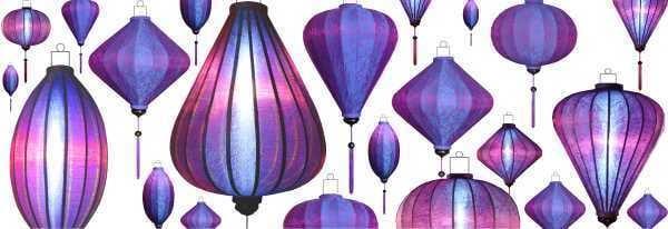 Lilafarbene Lampions als Dekoration in Lila