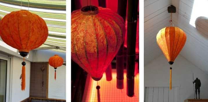 Orangefarbenen Lampenschirmen wunderschön aus