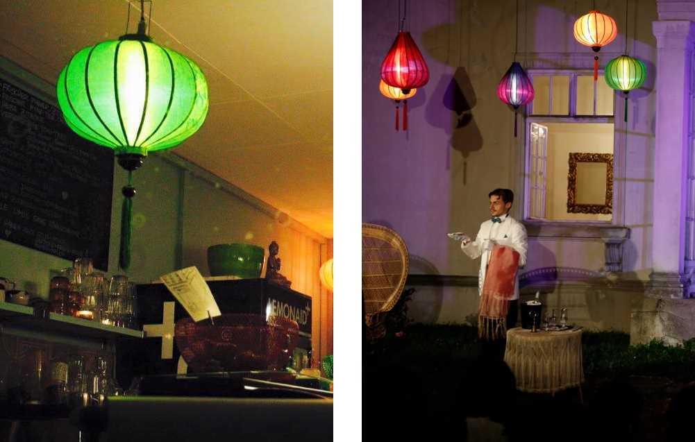 Groene Vietnamese lampions als hanglamp