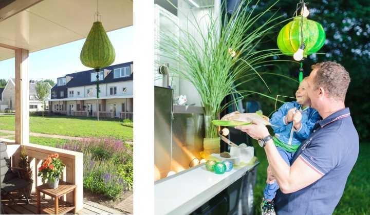 Groene lampionnen als decoratie huis en tuin