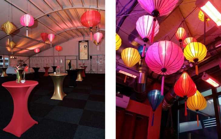 Roze lampionnen kleuren bruiloft