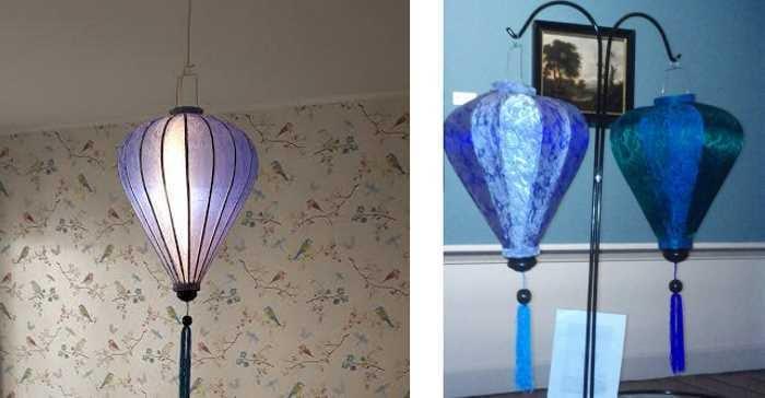Blauwe lampionnen als hanglamp