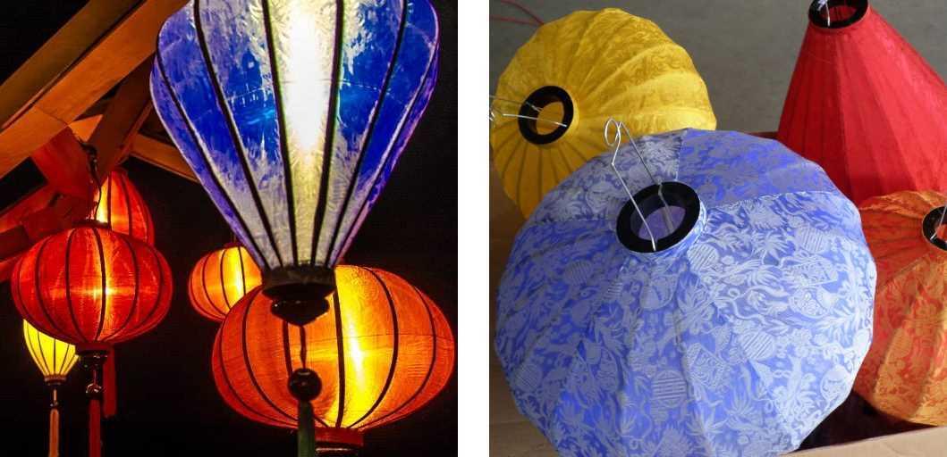 Blauwe Vietnamese lampions als hanglamp