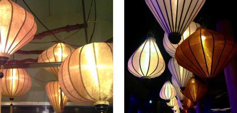 Koperen Vietnamese lampions als hanglamp op de veranda