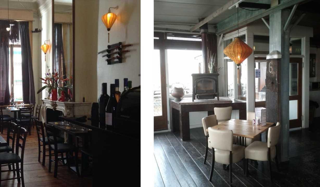 Koperkleurige lampionnen als hanglamp in een restaurant