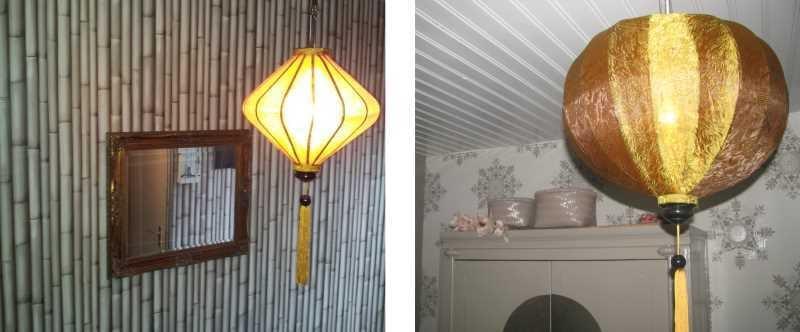 Koper lampionnen als hanglampen