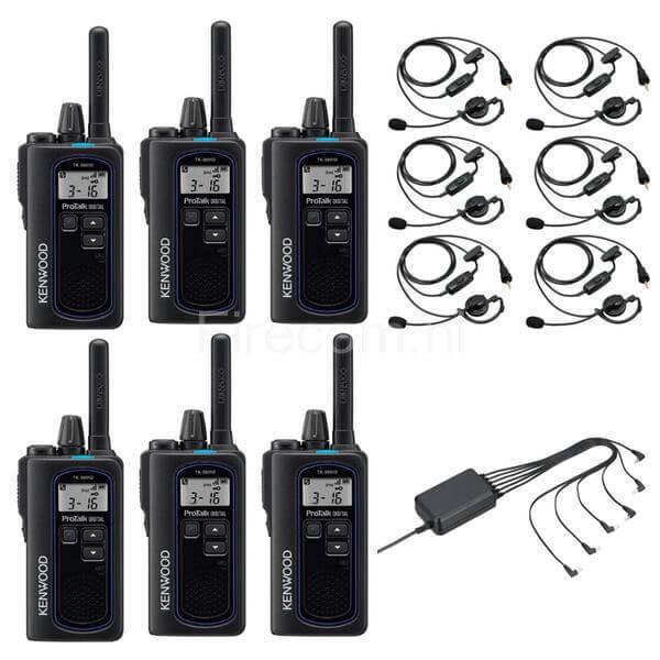 Set van 6 Kenwood TK-3601D portofoons met oortjes en multilader