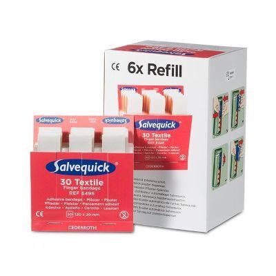 Salvequick 6pack - 6496 navulling textiel elastische lange pleisters 30 stuks