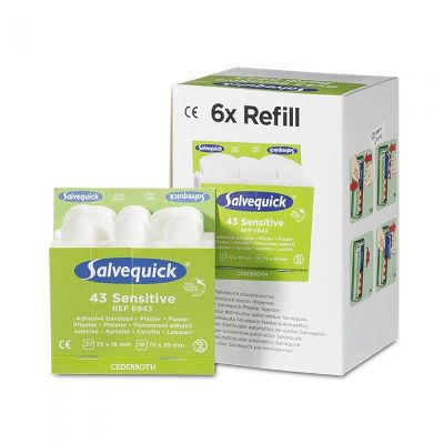 Salvequick 6pack - 6943 navulling non woven pleisters sensitive 43 stuks
