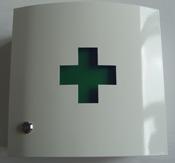 Medicijnkast Leeg wit met groen kruis