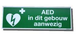 """AED Pictogram op sticker """"AED in dit gebouw aanwezig"""""""