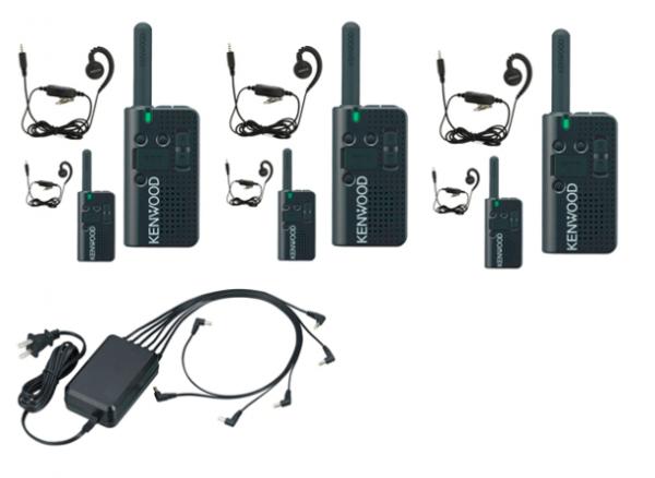 Set van 6 Kenwood PKT-23e portofoons met KHS-34 oortjes en multilader