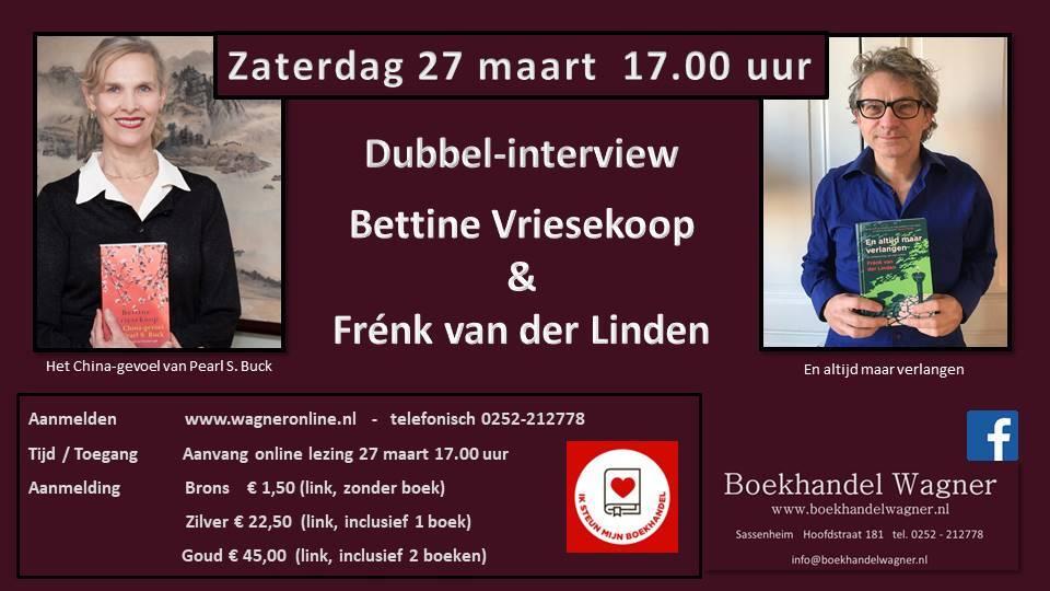 Uitnodiging: Dubbel-interview Bettine Vriesekoop en Frenk van der Linden