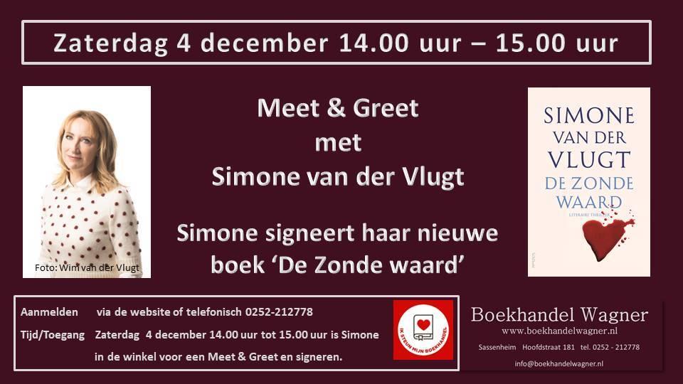Meet & Greet Simone van der Vlugt 4 november om 14:00