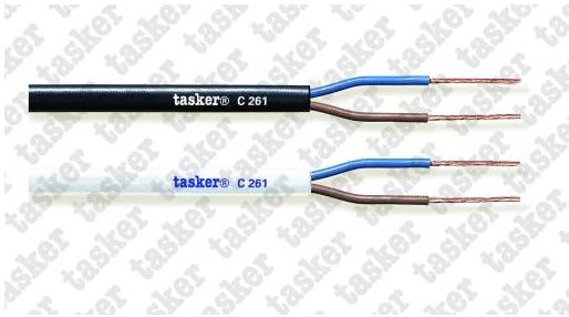 Tasker Stroomkabel230V Wit  C262 3x1,00