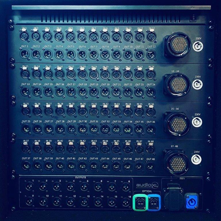 Tasker®Live complete 19Inch stageblock <br />Front: 48 x Neutrik XLR in & out to 4 x Syntax LK37 female