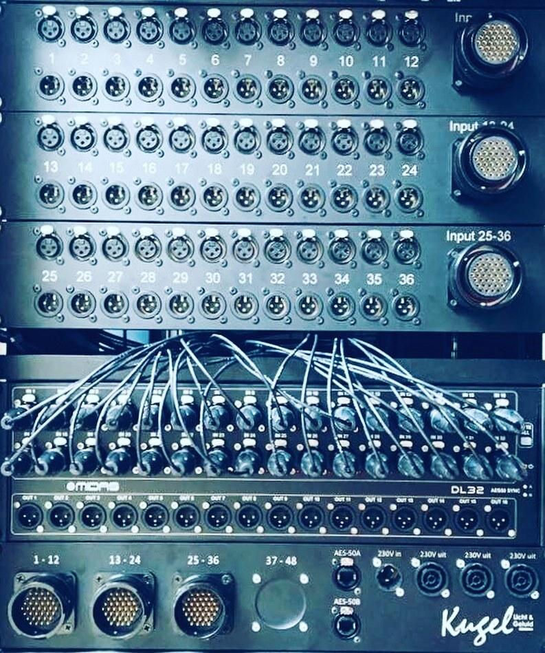 Tasker®Live 19Inch panelen stagerack 36 kanaals met 36 x XLR in en 36 x XLR out, tevens voorzien van 3 * LK37 in en 3 * LK37 out.