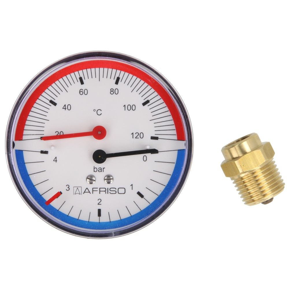 Thermo-manometer 0-4 Bar 0-120°C. 1/2""