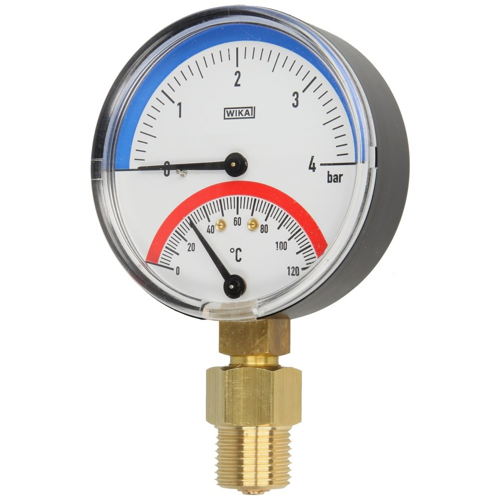 Thermo-manometer 0-4 Bar, 0 -120°C. 1/2""