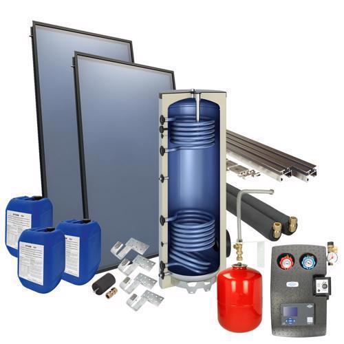 Solarpakket met 2 Collectoren en 200L solarboiler 2-3 personen