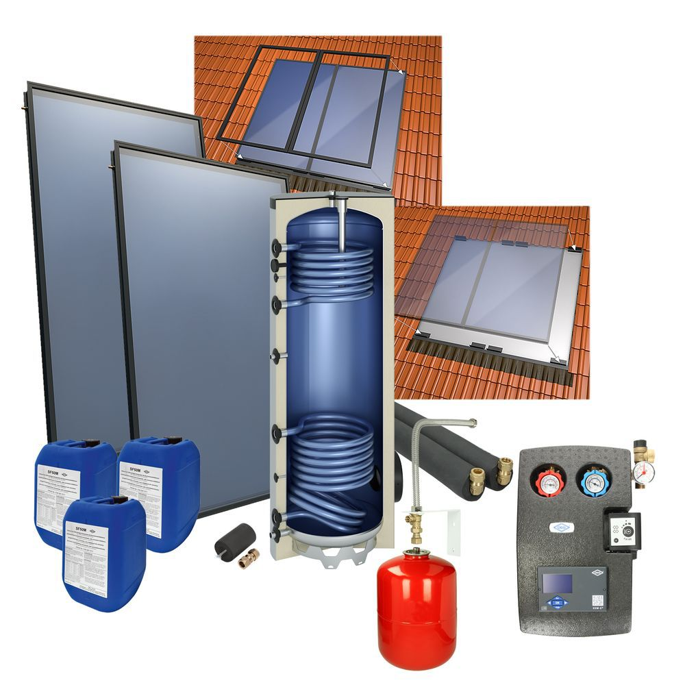 Solarpakket met 4 Collectoren en 800L verswaterboiler 200m² woonoppervlakte