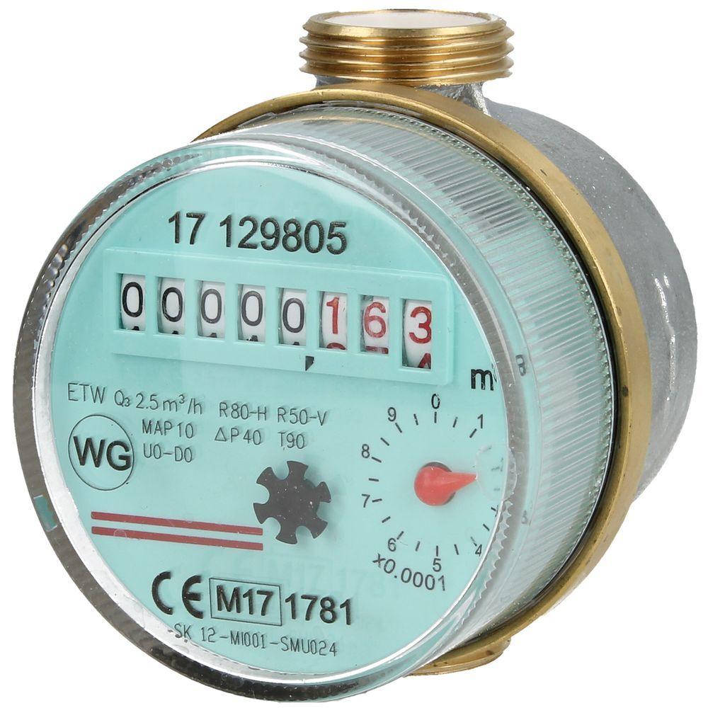 Watermeter voor warmwater 2,5 m³/h