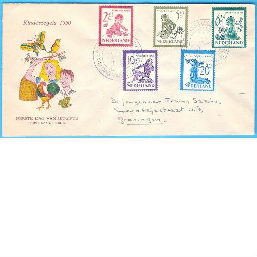 Nederland 1950 kinderzegels   FDC