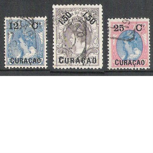 Curacao 1901-1902 overdruk in zwart