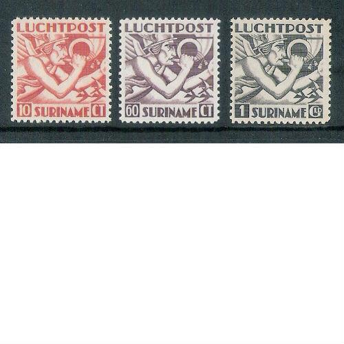 Suriname 1941 Luchtpostzegels Mercuriuskop Engelse druk