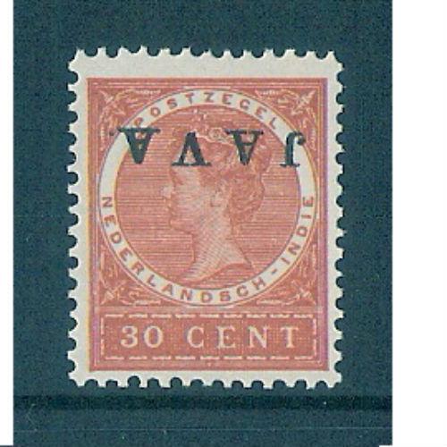 Nederlands Indië 1908 opdruk Java kopstaand