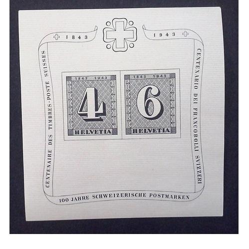 Zwitserland 1943  blok 100 jaar Zwitserse postzegel