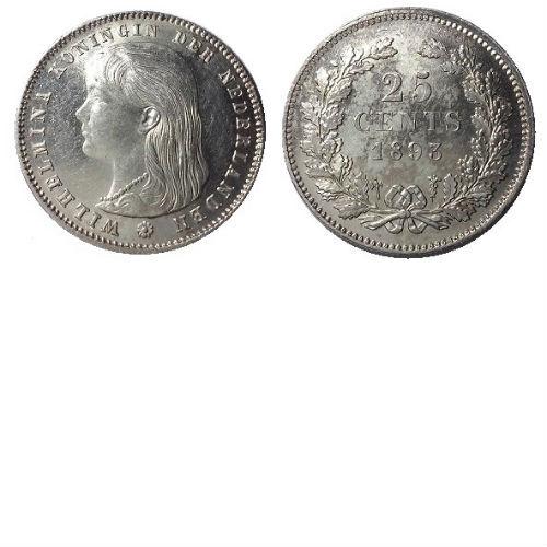 25 CENT 1893  Koningin Wilhelmina