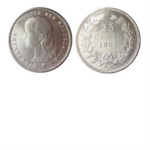 25 CENT 1892  Koningin Wilhelmina