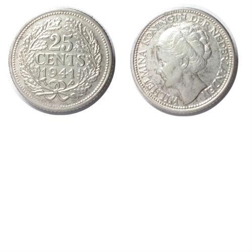 25 cent 1941 PP Koningin Wilhelmina