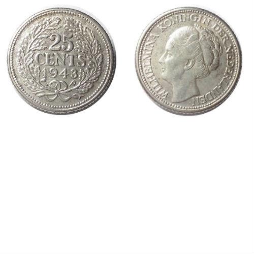 25 cent 1943 PP Koningin Wilhelmina