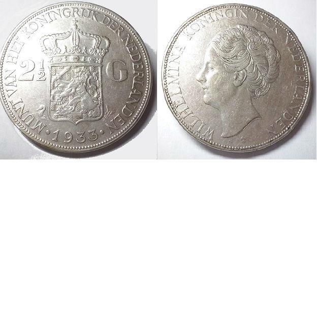 2 1/2 gulden 1933 b Koningin Wilhelmina