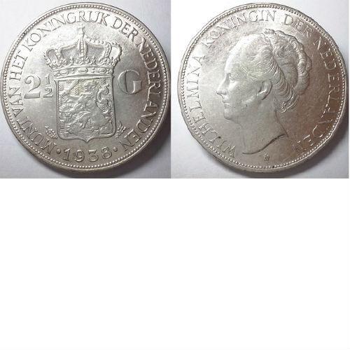 2 1/2 gulden 1938 a Koningin Wilhelmina