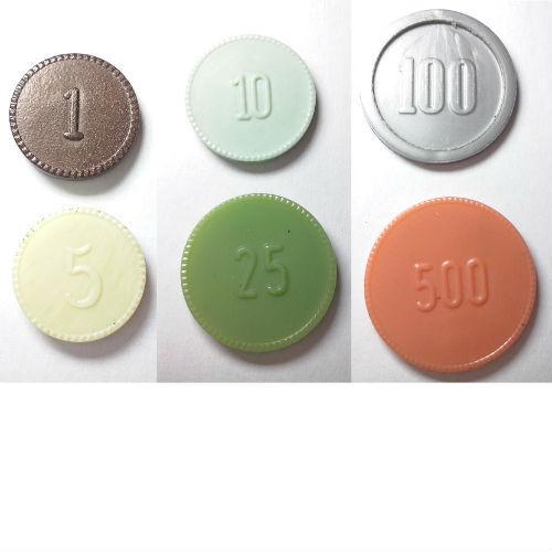 1, 5, 10 en 25 cent 1 en 5 gulden, plastic geld ten behoeve van de Koninklijke Landmacht