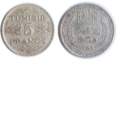 Tunesië 5 francs 1936