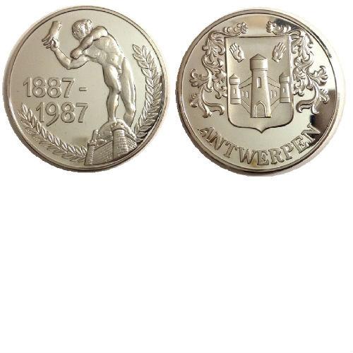 Antwerpen 1887-1987 zilveren penning