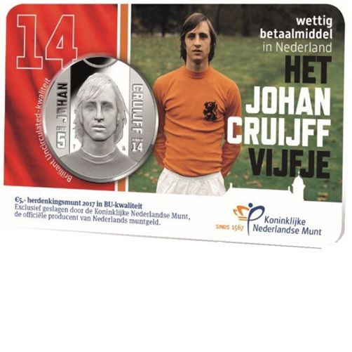 Cruijff 5 euro BU in coincard