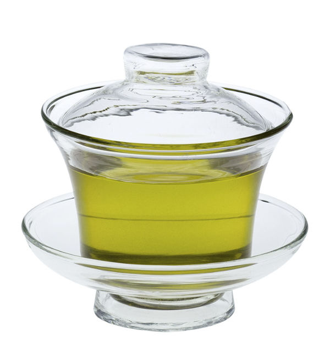 Chinees theekopje met schoteltje en deksel - glas